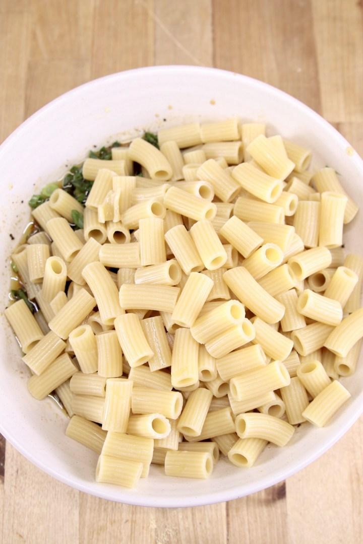 rigatoni in a bowl for pasta salad