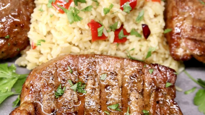 Asian Marinated Pork Chops with Rice Pilaf