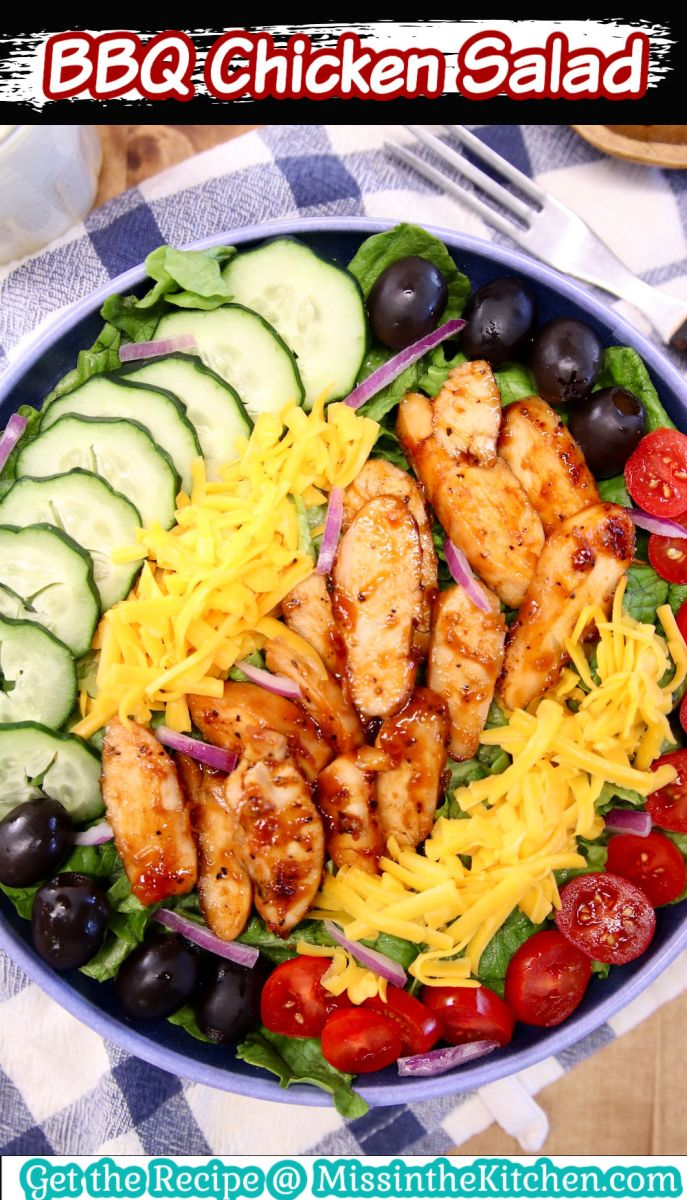 BBQ Chicken Salad with text overlay