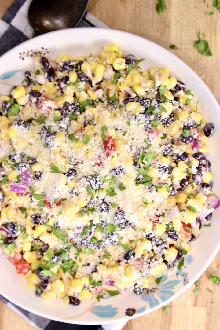 Bowl of black bean and corn salad