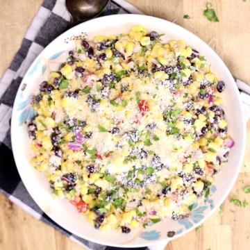 Black Bean & Corn Salad in a bowl - overhead view