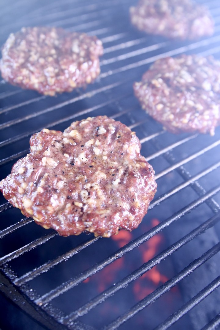 grilled burger patties on a grill
