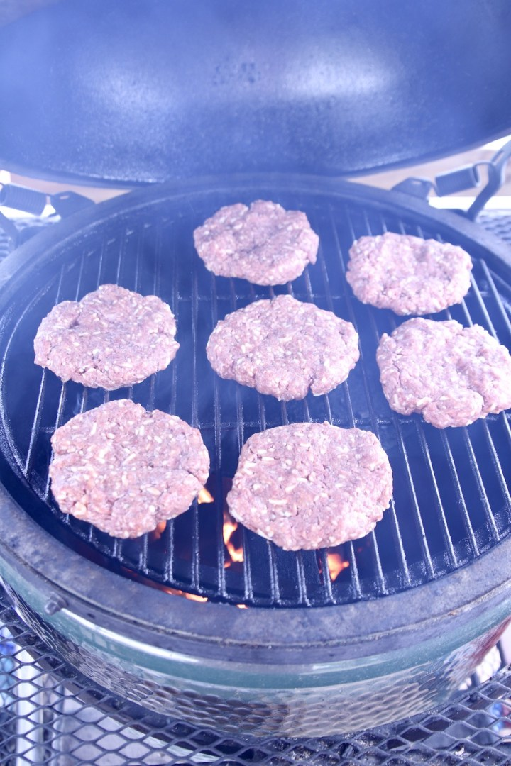 burgers on a big green egg grill