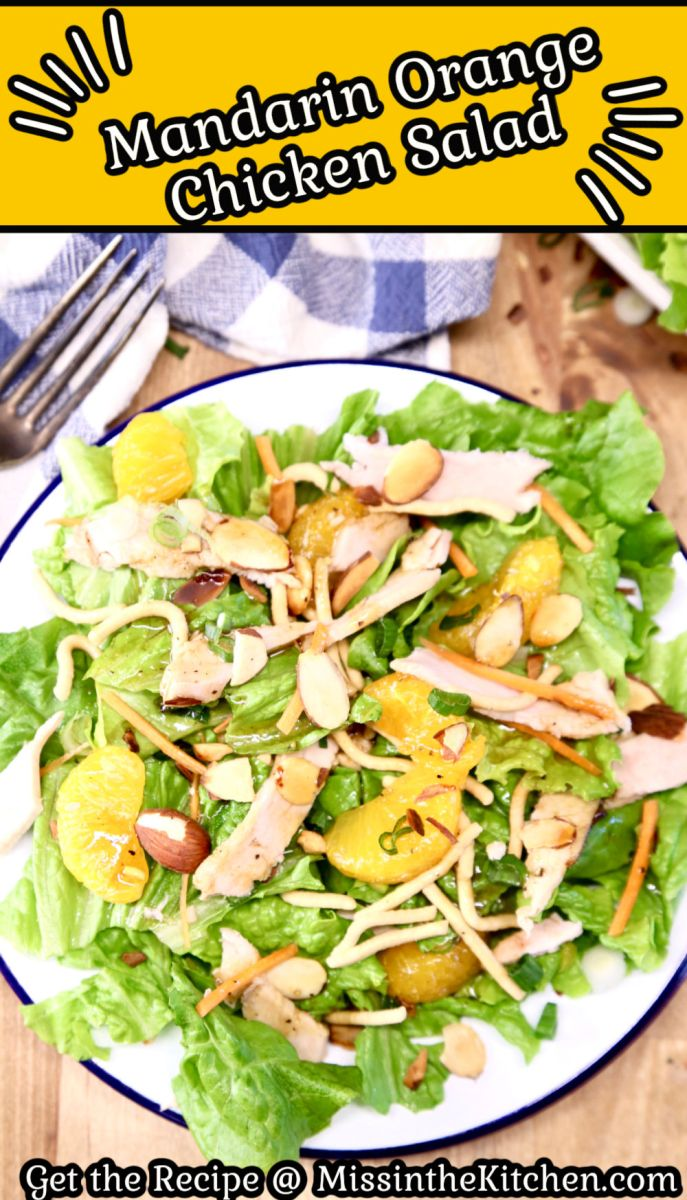 Mandarin Orange Chicken Salad with text overlay