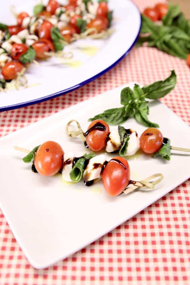 appetizer plate with caprese skewers