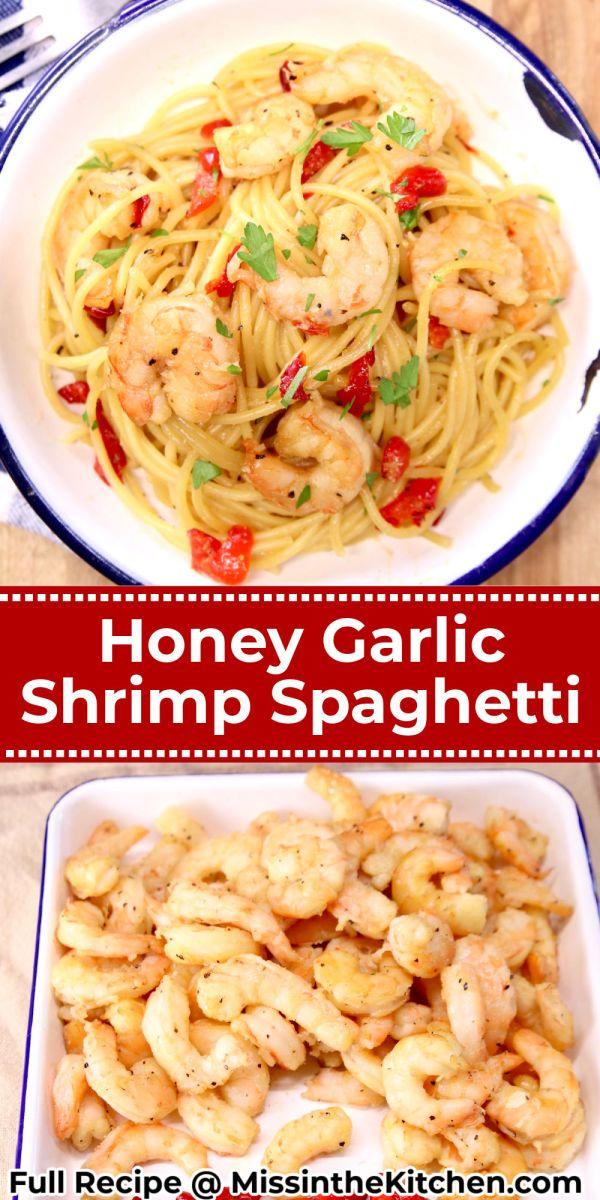 Collage of honey garlic shrimp: served in a bowl/ shrimp after grilling