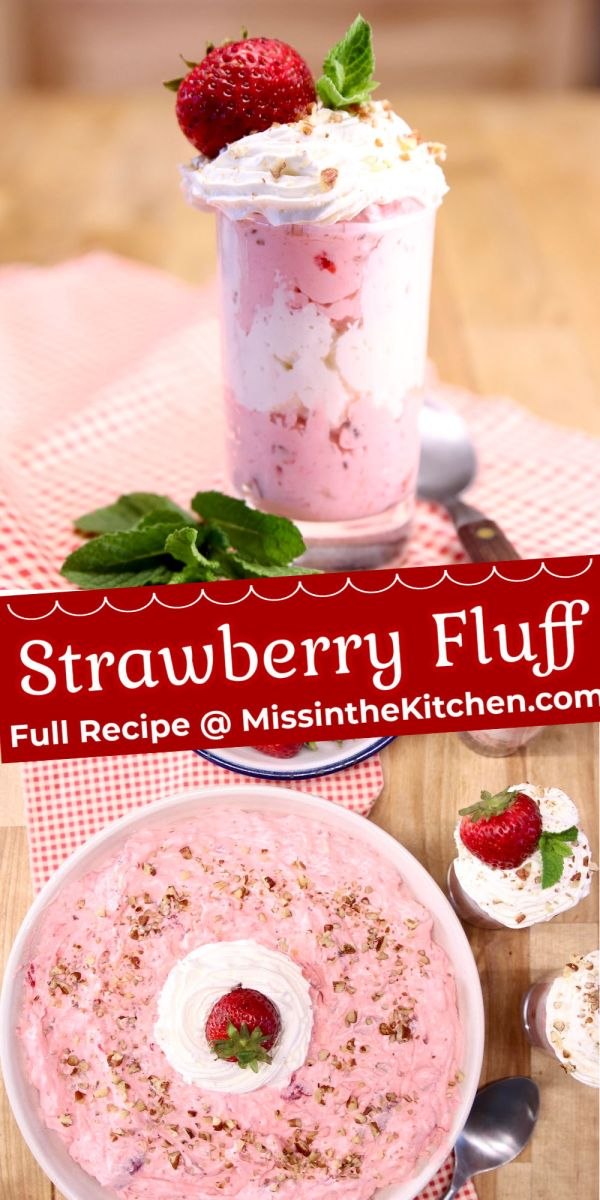 strawberry fluff collage: small serving glass/serving bowl