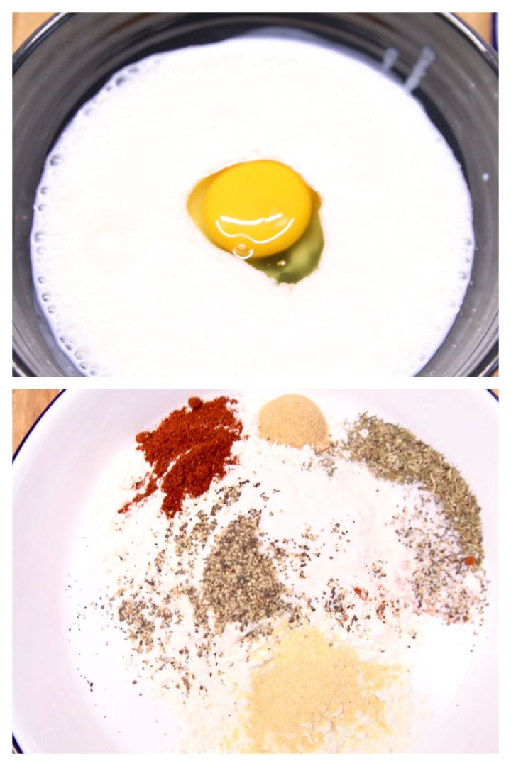 collage: bowl with buttermilk and egg/bowl with flour and spices