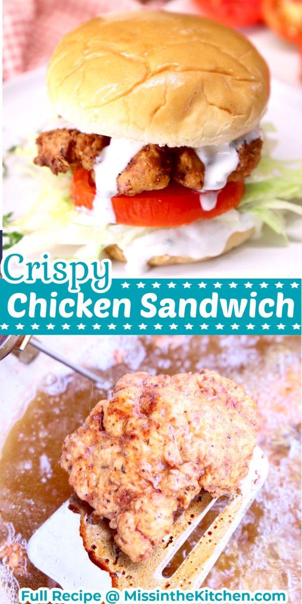Collage: Crispy chicken sandwich/ frying chicken