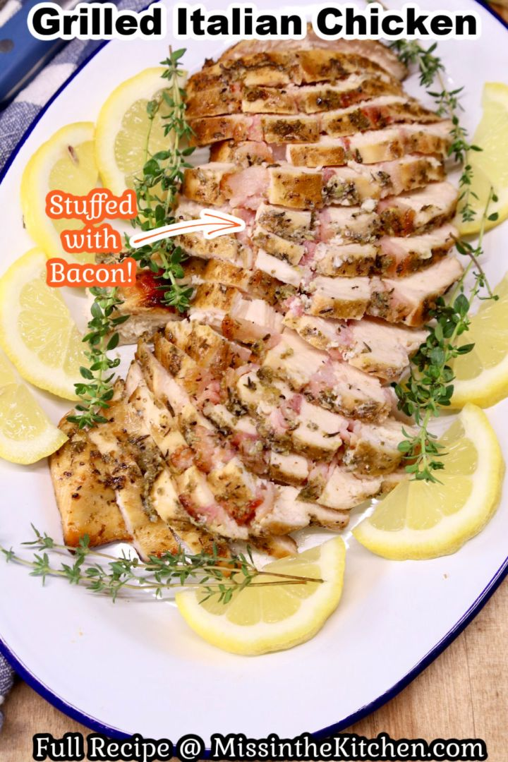 Grilled Italian Chicken Breast sliced on a plate with text overlay