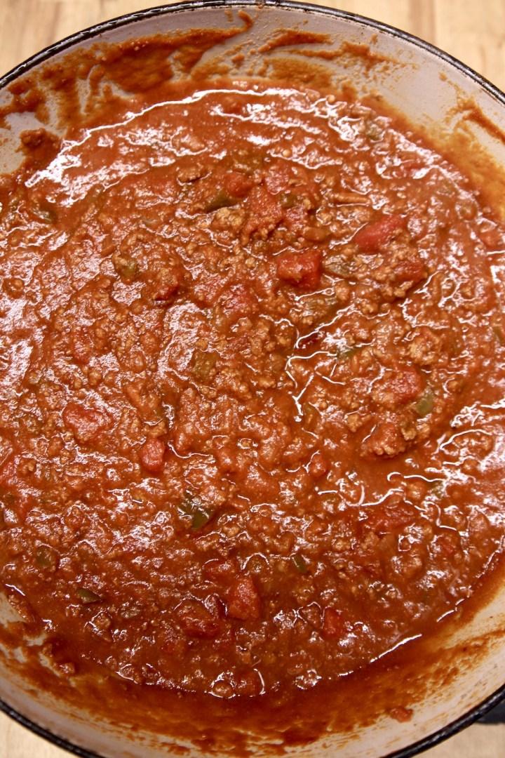 hot dog chili in a dutch oven