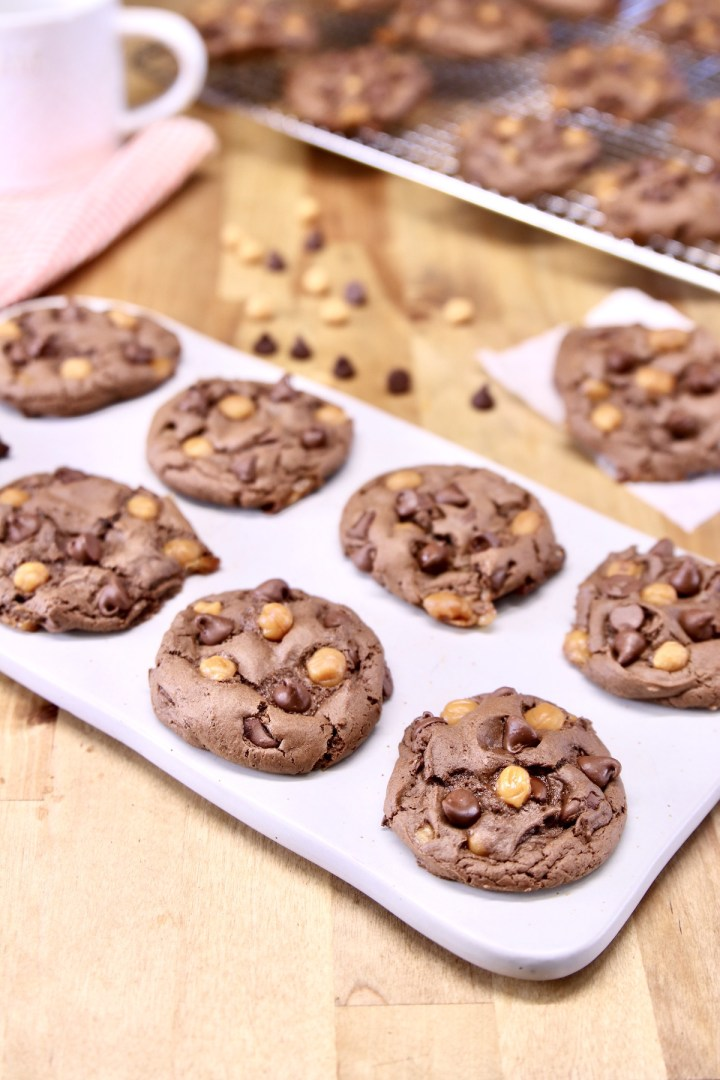 platter of chocolate cookies with caramel bits