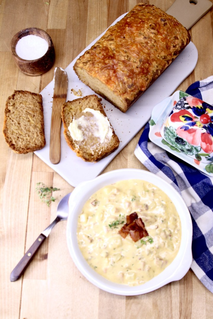 ham and cheese soup with beer bread