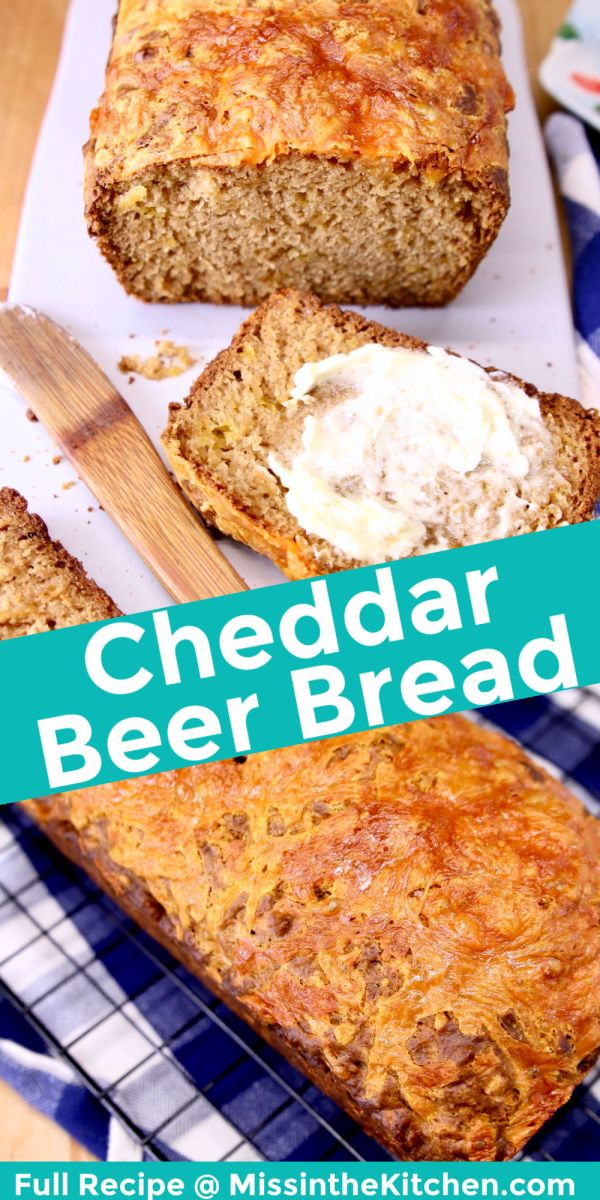 cheddar beer bread collage: sliced/ loaf in pan