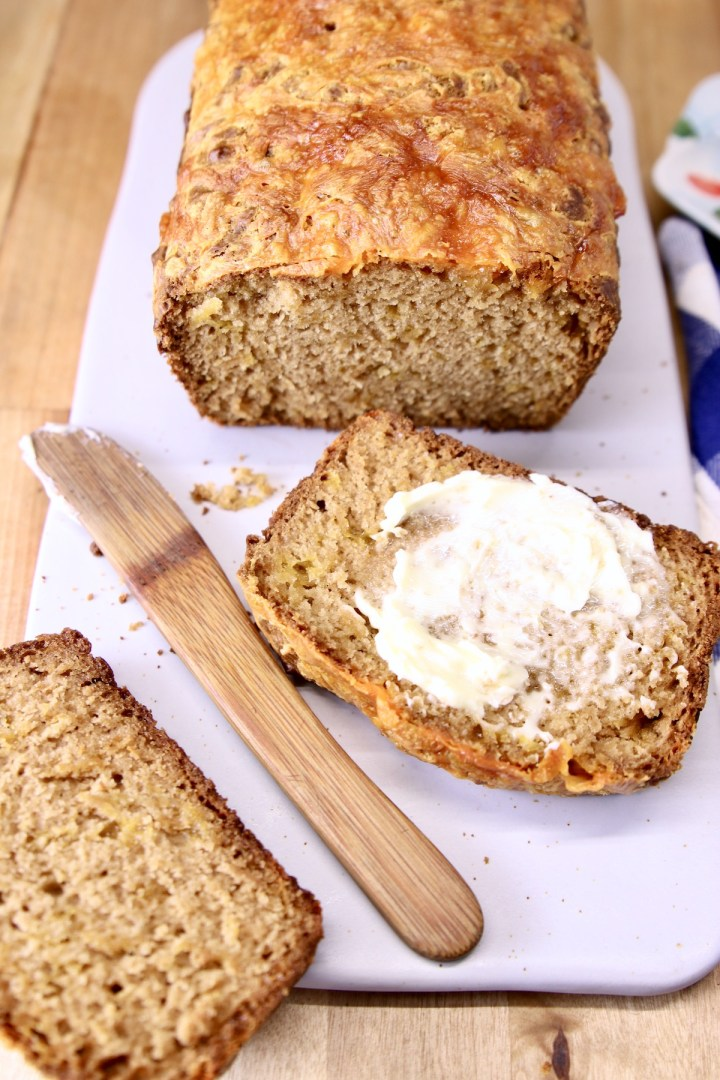 Cheddar Beer Bread Sliced with butter