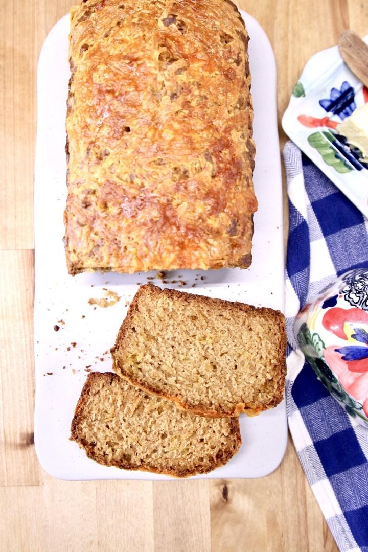 beer bread loaf - 2 slices off the loaf
