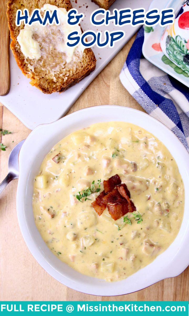 ham and cheese soup in a bowl - text overlay