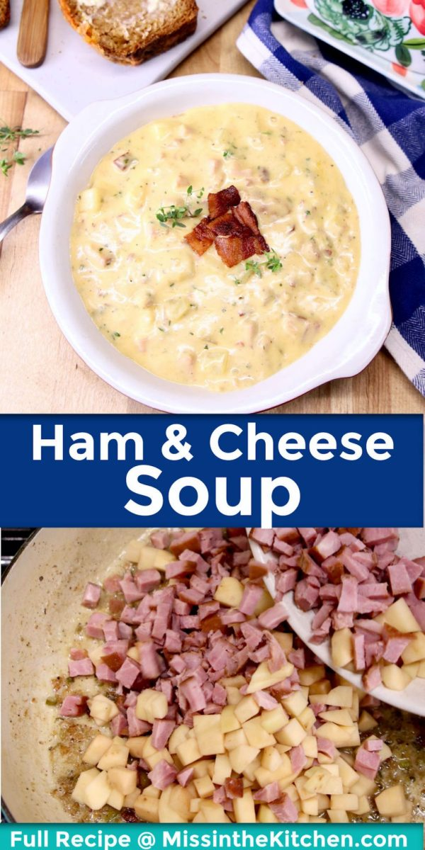collage ham and cheese soup: in a bowl/ adding potatoes and ham to pan