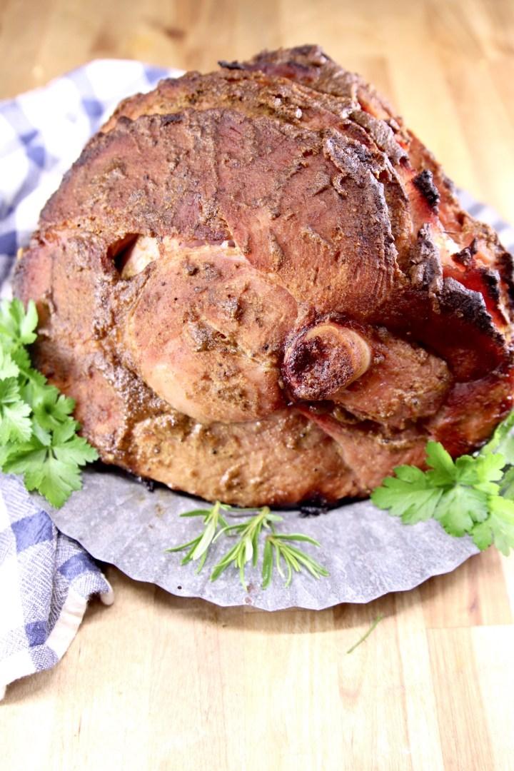Mustard Glazed Ham on a platter