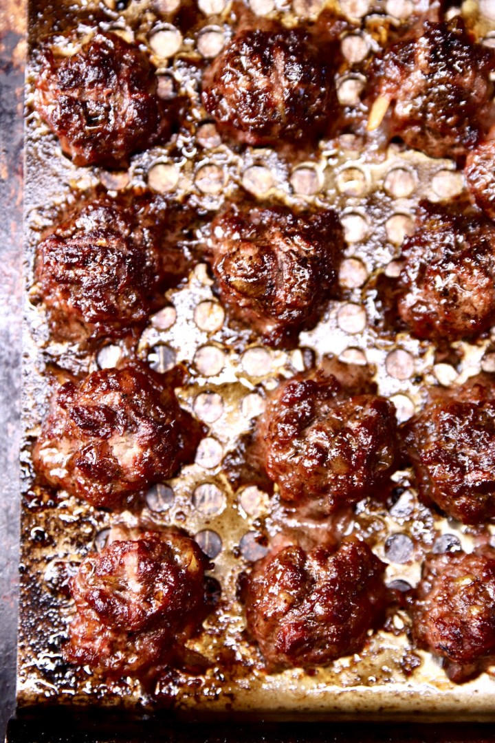 grilled meatballs -close up