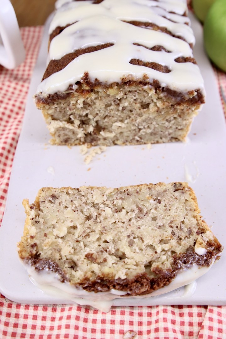 slice of apple bread in front of the loaf
