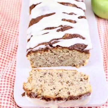 apple bread, one slice in front of loar
