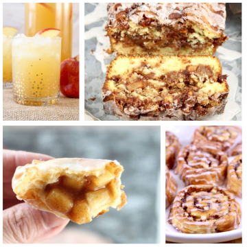 collage of apple desserts and a drink