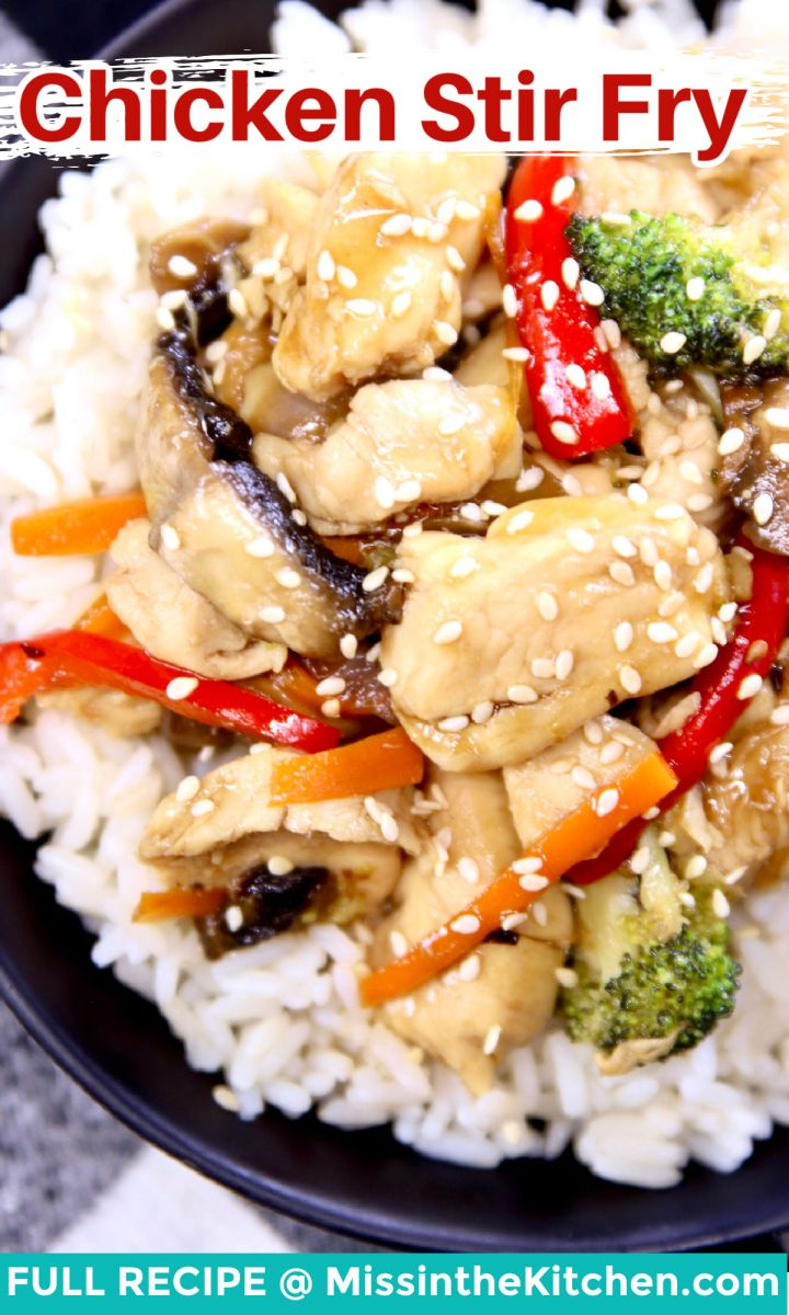 chicken stir fry closeup of bowl, served over rice
