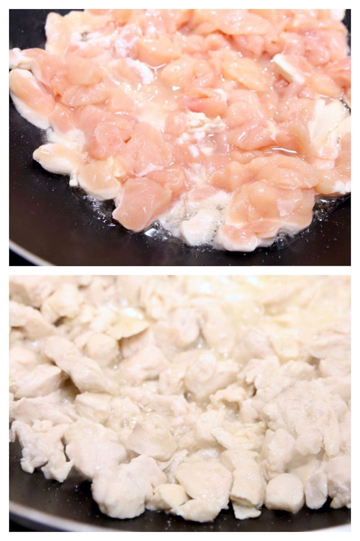 collage cooking chicken for stir fry