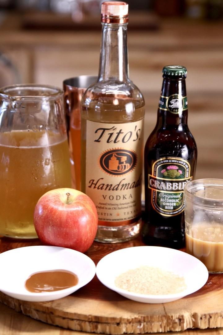 ingredients for caramel apple mule