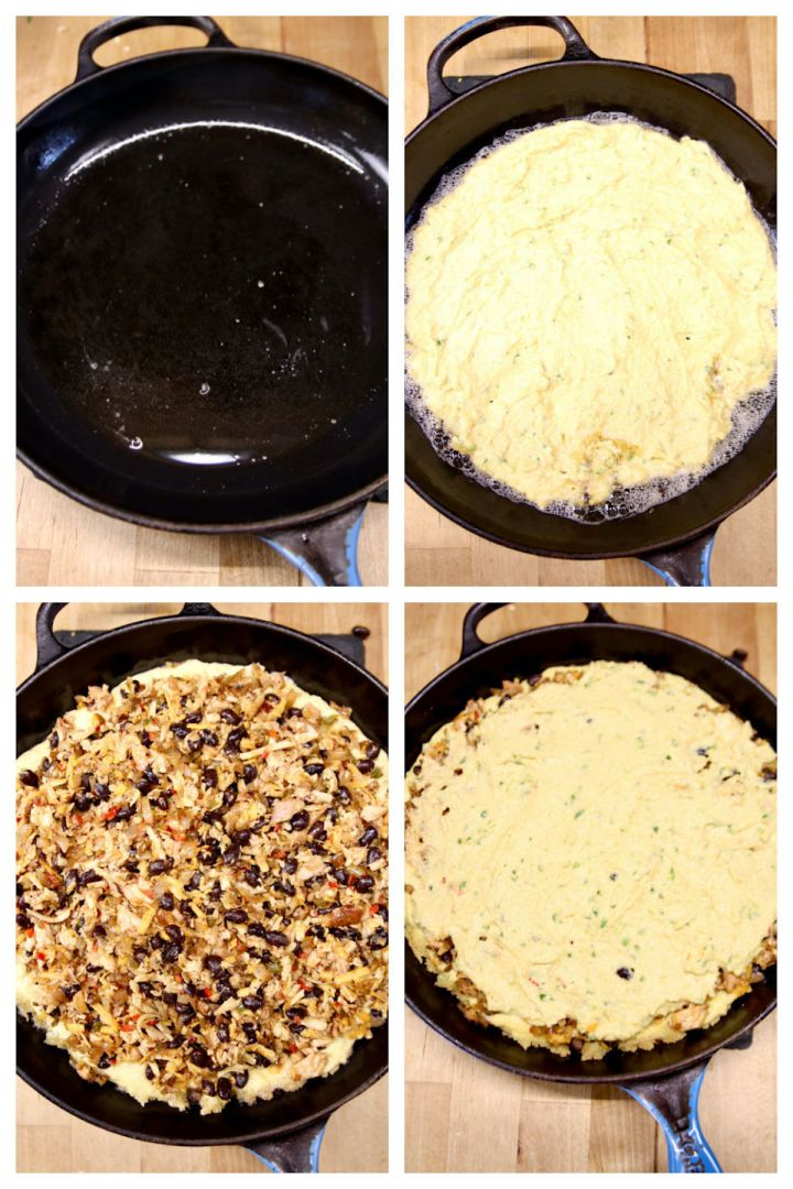 layering Mexican chicken cornbread layers in a cast iron skillet