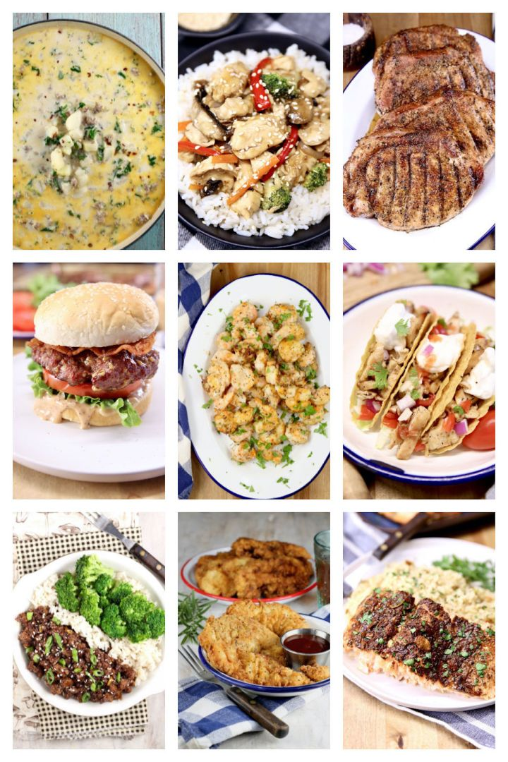 collage of 9 dinner recipes