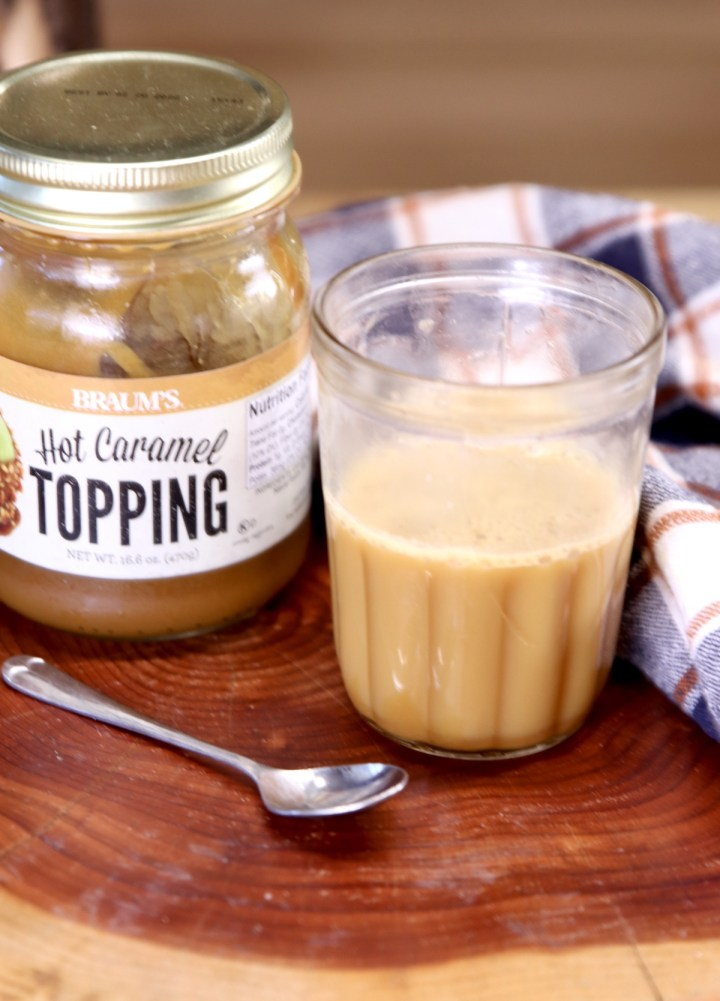 caramel syrup with jar of caramel ice cream topping
