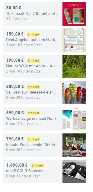 Dankeschöns Crowdfunding Startnext Anita Maas Anita maaS Magazin