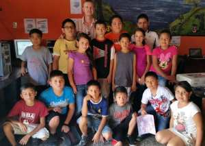 Tim with students in our computer and programming classes at our VETC in Colonia Santa Fe