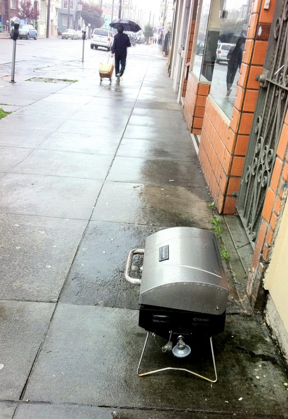 barbeque, rain, mission district, san francisco, 19th street, found objects
