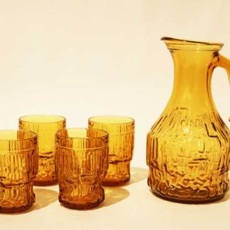 Drink set. Glass pitcher with matching glasses