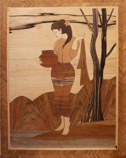 Artwork.  Delicate and beautiful marquetry piece.  One of a pair.
