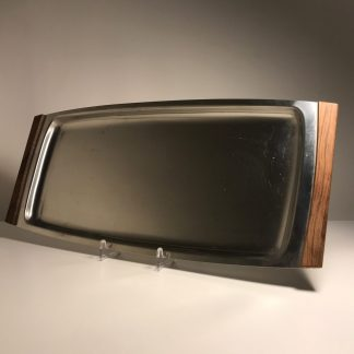 Large long stainless steel tray with teak handles