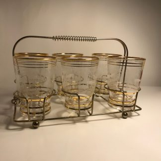 j0139 6 drinking glasses with carry tray a