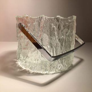 1970s vintage Pukberg ice bucket glass and chrome at mission modern a