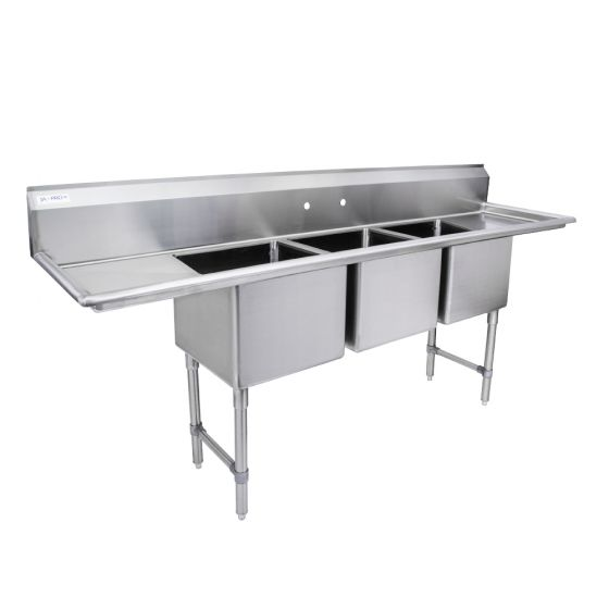 3 compartment stainless steel sink w left right drainboards