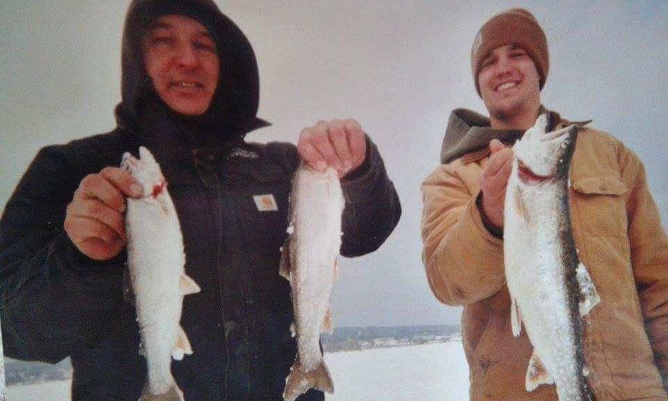 ice fishing on lake superior