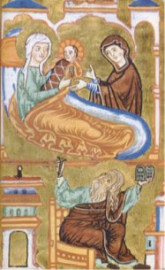 Paining of the birth of John the Baptist with his mother and a midwife on the second floor of the house`. The father of John the Baptist is shown waiting on the first floor of the house.