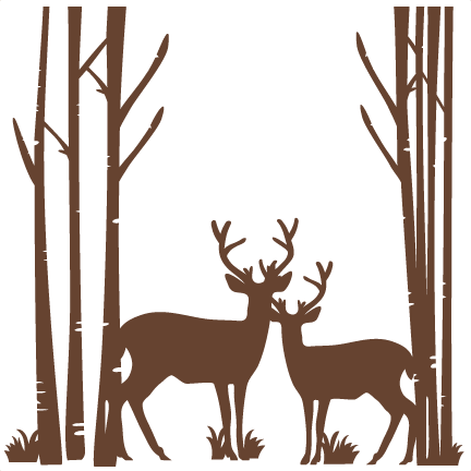 Download Birch Trees With Deer SVG scrapbook cut file cute clipart ...
