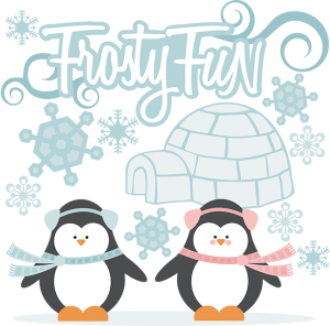 Frosty Fun SVG cutting files snow svg files winter svg cut files penguin svg files cute clipart