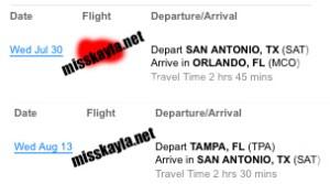 Florida flight itinerary for Miss Kayla