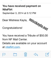 Niteflirt tributes from good boys always make Miss Kayla happy