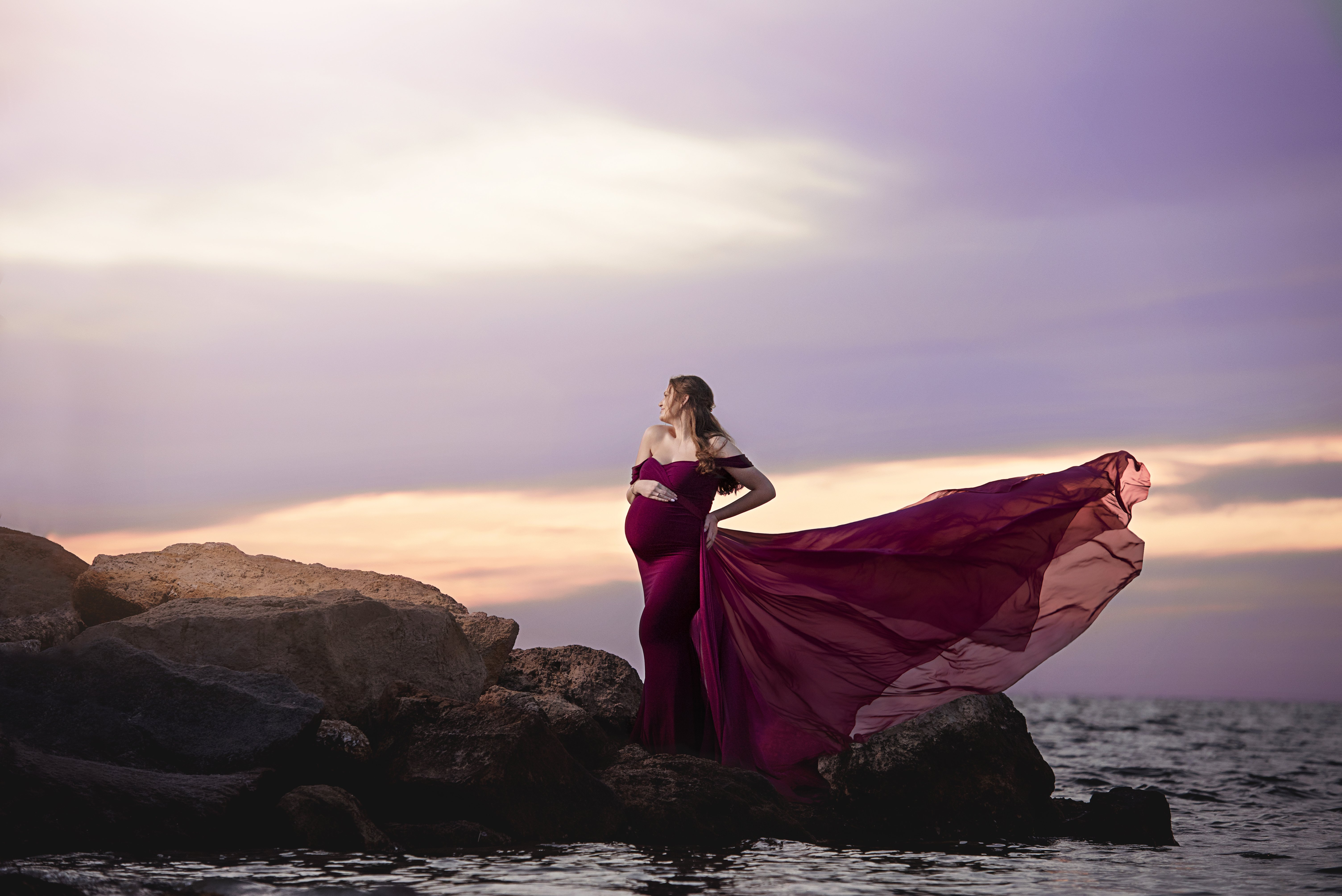 Detachable Chiffon Tossing Train Miss Madison Boutique Maternity Gowns For Photography