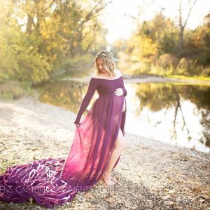 Chiffon maternity gown, tossing train, open belly chiffon gown, off the shoulder long sleeve